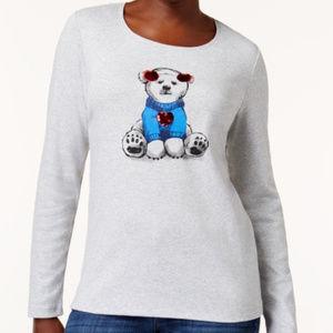 Karen Scott Christmas Polar Bear T-Shirt Sweater